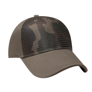 Structured Camo Front Cap with Matching Mesh Overlay