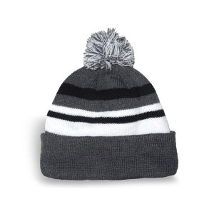 Fine Knit Striped Tuque with Microfleece Lining